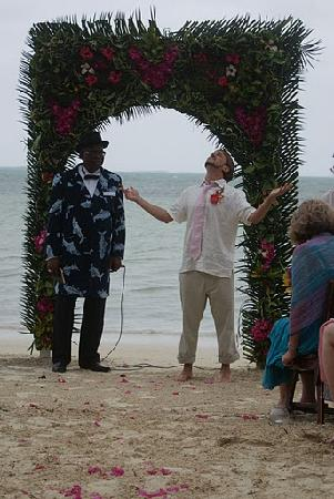 Small Hope Bay Lodge: Me under our wedding altar