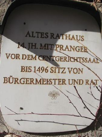 Altes Rathaus (old townhall): plaque