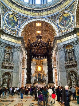 "Vatican City, Italy: Bernini's renaissance baldachin (front) Bernini's ""Cathedra Petri"" and ""Gloria"" on the backgroun"