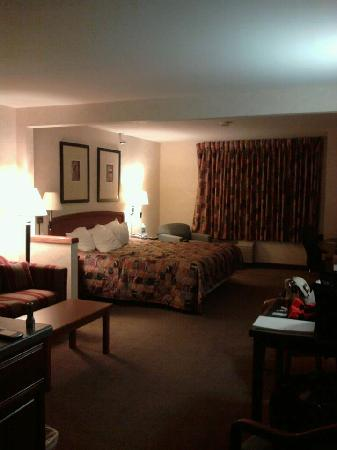 AmericInn by Wyndham Rochester Airport: King bed with view of chair and ottoman