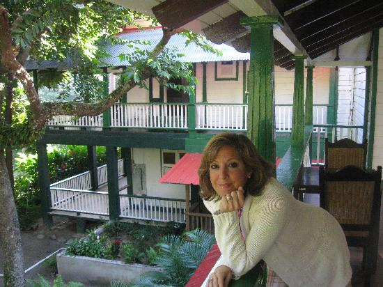 Jayuya, Puerto Rico: My wife at the dining room balcony.