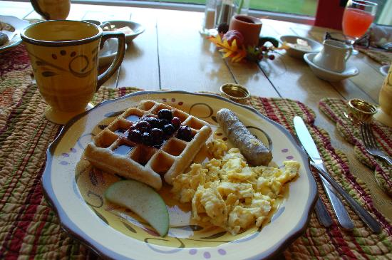 Brass Lantern Inn : Waffles with Blueberry Maple Syrup