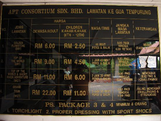 ‪‪Gua Tempurung‬: The price list‬