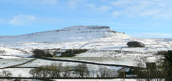 The Willows Bed & Breakfast: Taken from front lawn of Willows - Pen-y-Ghent 1st Winter Snow 5.12.11