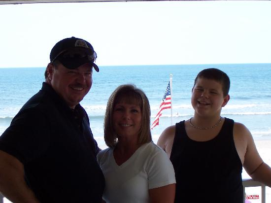 Royal Holiday Beach Motel: Ted, Cindy & Blake on the balcony with the ocean in the background