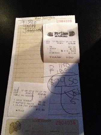 Red Lion Bar & Grill: The Check