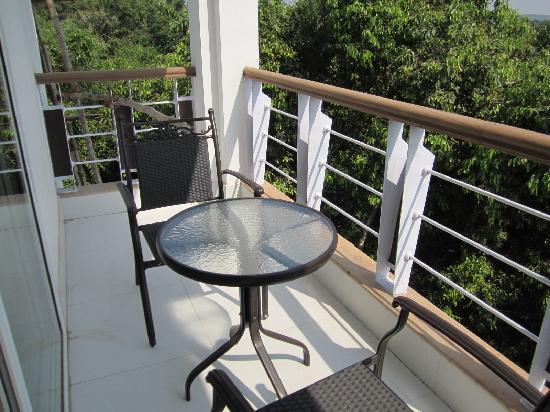 Outside on the balcony