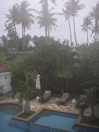 Villa Jaya: View from room towards beach (neach near row of palms)