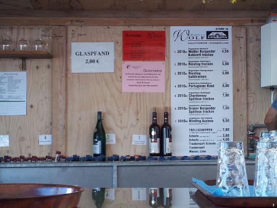 Dürkheimer Wurstmarkt: wine menu