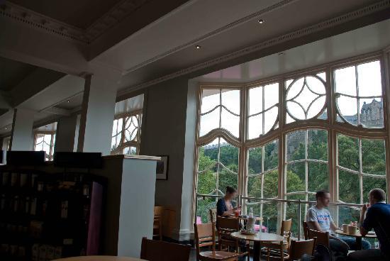 Glimpses of Edinburgh Castle from Starbucks
