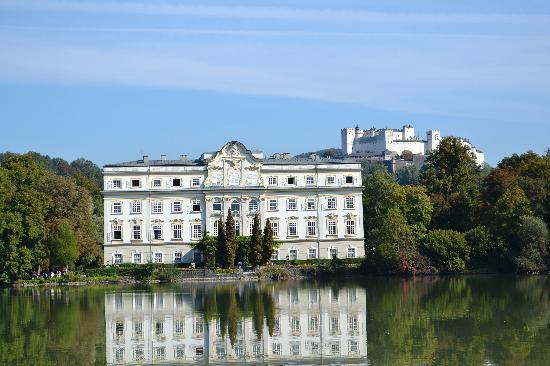 Fraulein Maria's Bicycle Tours: Back of the Von Trapp House and Salzberg Castle