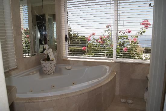 Atlantic Suites Camps Bay : la baignoire Jaccuzi avecvue sur le jardin et la mer