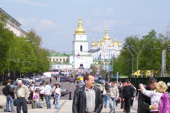 Kiev Guided Tours: Looking at St. Michaels' cathedral