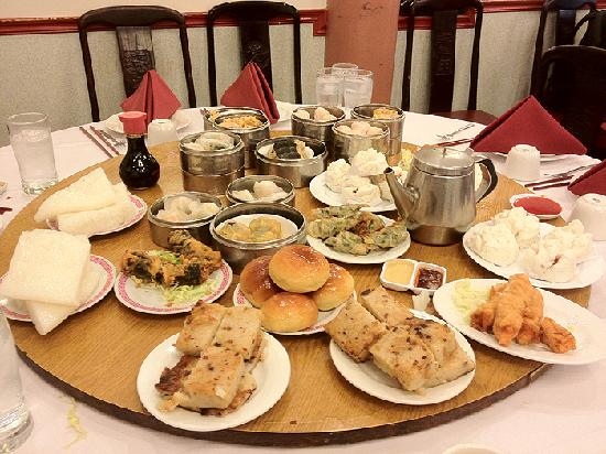 great seafood harbor lazy susan table full of dim sum yum