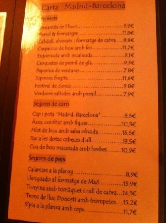 Madrid - Barcelona : carta