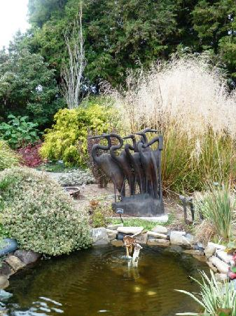 Mendocino Coast Botanical Gardens: Sculptures are integrated into the formal gardens