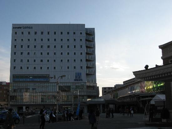 Super Hotel Lohas JR Nara-eki: hotel and train station (on right)