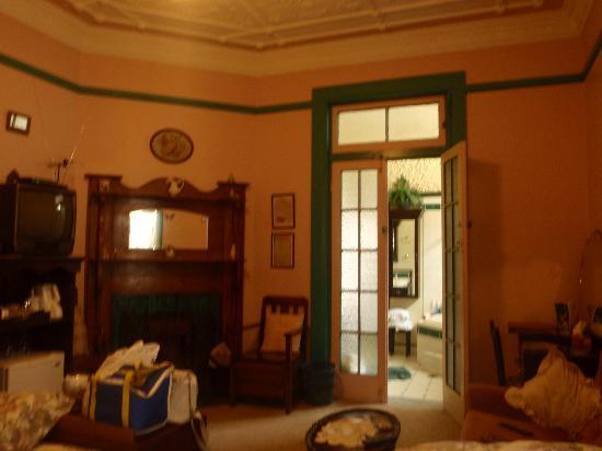 Hamilton Heritage B&B: our bedroom leading into the bathroom