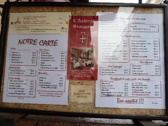 Auberge Savoyarde: die Speisekarte