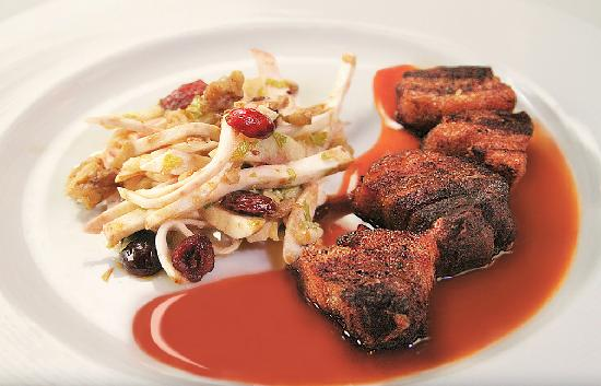 Blue Bicycle: Crisp Pork Belly with Apple Cider Reduction and an apple,celery root and cranberry salad from Th