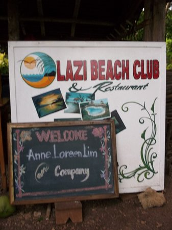Lazi Beach Club : the Big Black board with our names on it