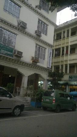 View from room and hotel entrance and building. Namgey Hotel