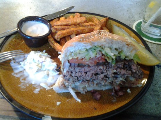 Chuck's Burger Bar: half order Smokey Blue Haze with sweet potato fries and slaw