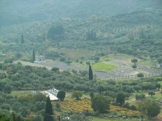 Ancient Messini : View of the stadium from nearby Ithomi