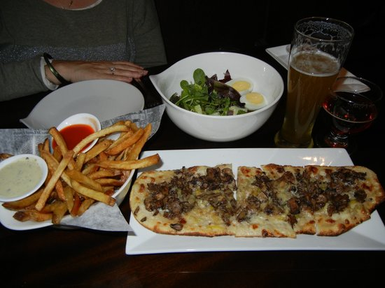 Crow Bar & Kitchen: Flatbread, salad with farm fresh eggs, and duck fat fries