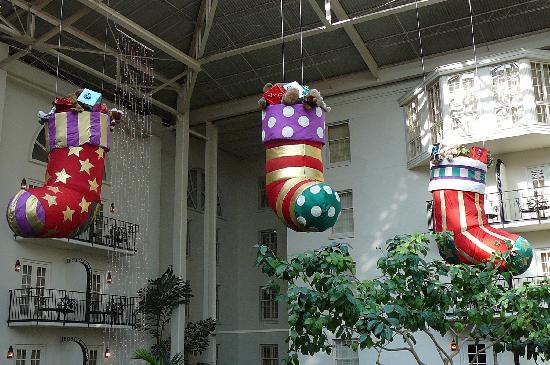 gaylord opryland resort gardens large christmas stocking decorations - Large Christmas Decorations
