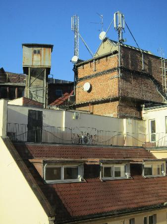 AS Apartments: The nice view of the back of some offices and a rusting cooling tower.