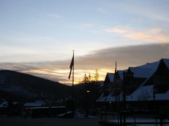 The Lodge at the Mountain Village by ASRL: Sunrise looking East from the Ice Rink (front desk)