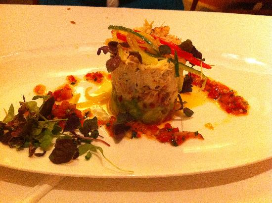 California Grill: crab appetizer. Served cold & stacked with avocado