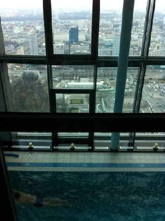 InterContinental Hotel Warsaw : pool area and view from the 43 floor