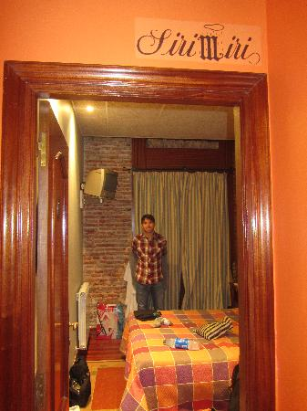 Pension Edorta: My hubby in our room