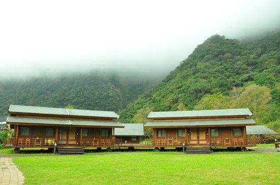 "Leader Village Taroko: log cabins nestled in the mountain rangers. there are 2 suites in each ""house"""
