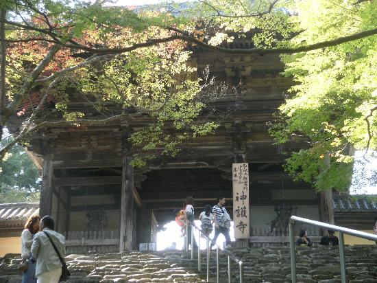 Jingoji Temple: 長い石段を登りきったところにある山門