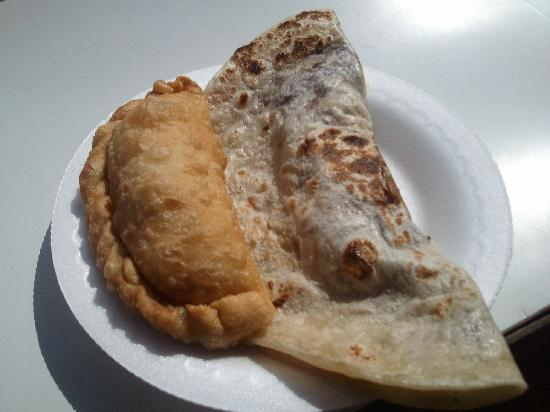 Chapi Catrachas: Beef Pastelito on the left, Chicken Baleada on the right.