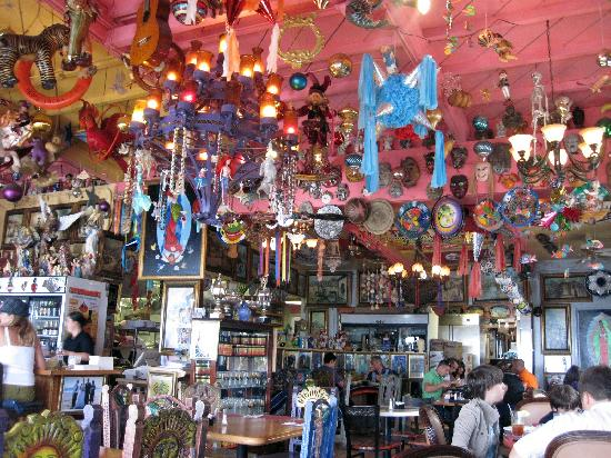 Olamendi's Mexican Restaurant: Knick-knacks gallore, hanging from the ceiling