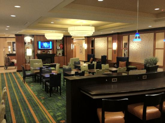 Fairfield Inn & Suites Columbus: The dining area downstairs. You can't see it but behind the camera is the large area where all t