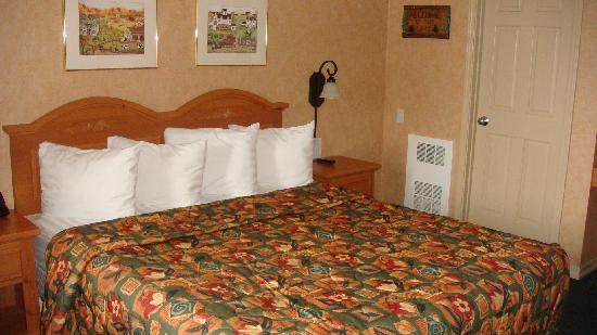 Pepper Tree Inn: The bed - notice the heater vent in the corner