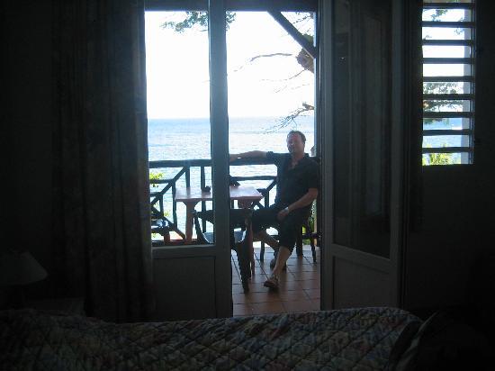Hotel Bois Joli: La terrasse avec la vue