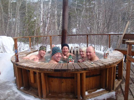 Fernie Wilderness Day Adventures: The wood burning hotub was a highlight!