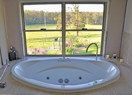 Cosy Cow Farmstay/Bed & Breakfast : A bath with a view...