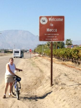 PS Bike Tours: end of the road at the farms of Mecca.