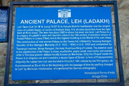 Leh Royal Palace: Board placed by ASI