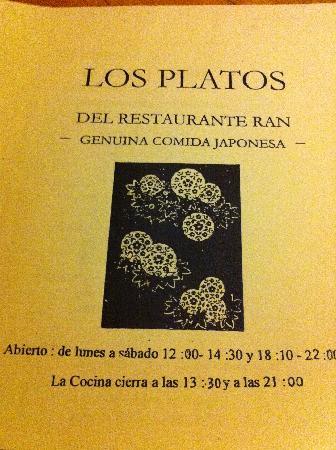 Restaurante Japones Ran: restaurant hours