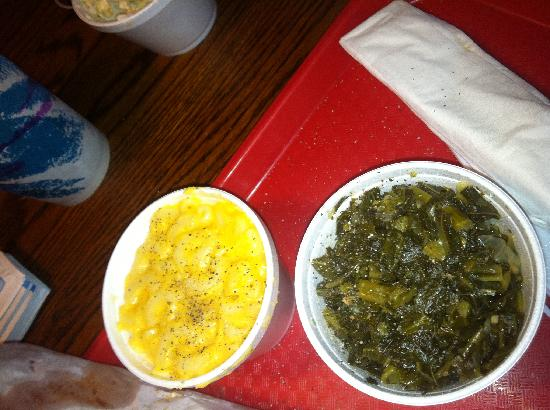 Chester's Barbecue: Mac-N-Cheese with Collards