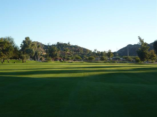 Lookout Mountain Golf Club: 18th Hole - Par 5 - pointe hilton Tapatio Cliffs Resort in background.
