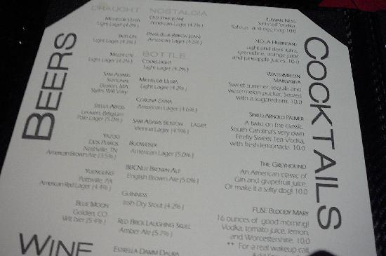 Fuse Sports Club at Gaylord Hotel: MENU Beers & Cocktails